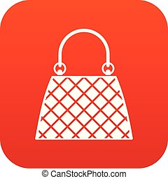 Beautiful bag icon digital red for any design isolated on white vector illustration