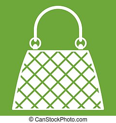 Beautiful bag icon white isolated on green background. Vector illustration