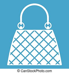 Beautiful bag icon white isolated on blue background vector illustration