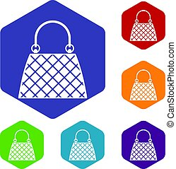 Beautiful bag icons set hexagon isolated vector illustration