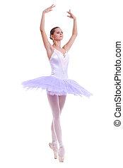 beautiful ballerina dancer making a ballet pose over white