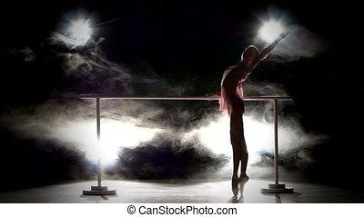 Beautiful ballerina dancer near the barre. smoke