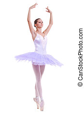 beautiful ballerina dancer making a ballet pose over white