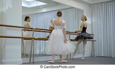 Beautiful ballerinas are practiced near barre in ballet studio.