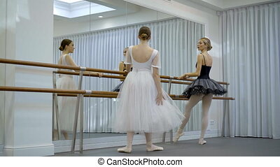 Beautiful ballerinas are practiced near barre in ballet...