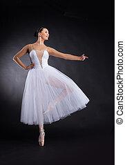 beautiful ballet dancer standing on one foot. attractive female ballerina practicing dance