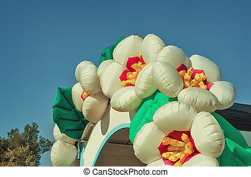 Beautiful balloons in the form of flowers, decoration for the holiday.