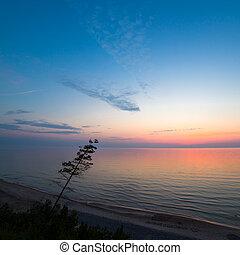 Beautiful Baltic sea coast landscape at sunset