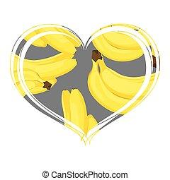 Beautiful bananas in the heart