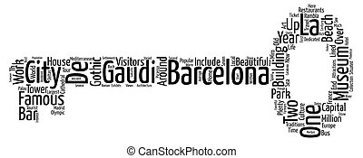 Beautiful BARCELONA Easy Travel Guide text background wordcloud concept