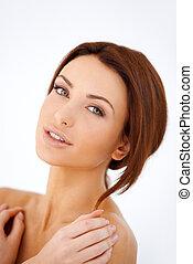 Beautiful bare shouldered woman - Studio portrait of a ...