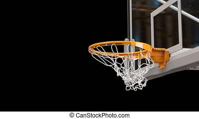 Beautiful Basketball Ball Hits Basket Net Slow Motion...