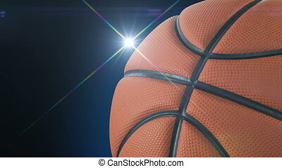 Beautiful Basketball Ball Rotating Close-up in Slow Motion on Black with Photo Flashes. Looped Basketball 3d Animation of Turning Ball. 4k Ultra HD