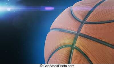 Beautiful Basketball Ball Rotating Close-up in Slow Motion on Black with Stadium Flare. Looped Basketball 3d Animation of Spinning Ball. 4k Ultra HD