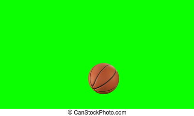 Beautiful Basketball Ball Throws in Slow Motion on Green Screen. Set of 4 Videos. Basketball 3d Animations of Flying Ball. 4k UHD