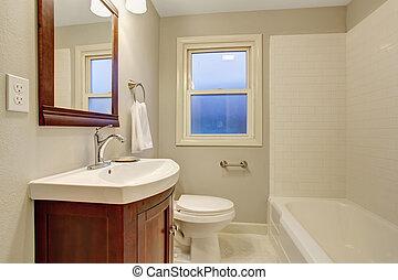 Beautiful bathroom with tile floor.