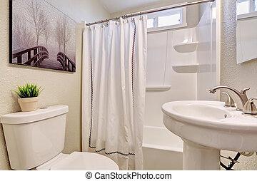 Beautiful bathroom with white theme.