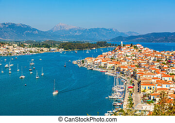 Beautiful bay near Poros island at sunny day, Greece