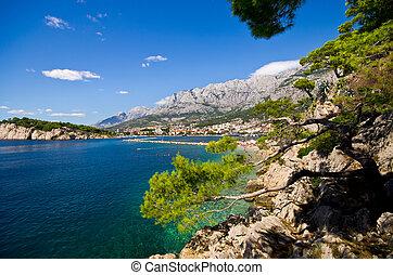Beautiful bay of Makarska town, Croatia