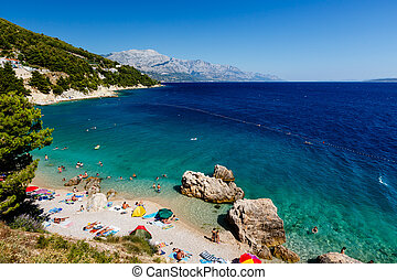 Beautiful Beach and Adriatic Sea with Transparent Blue Water...
