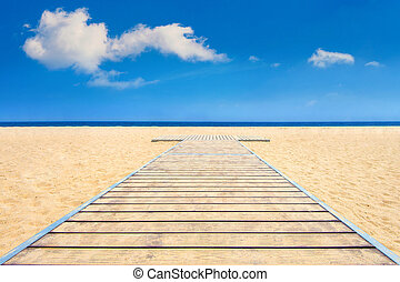 Beautiful beach and sea with wooden floor.