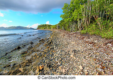 Beautiful beach at Smugglers on Tortola of the Caribbean Islands.