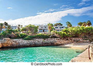 Beautiful beach bay azure sea water. Majorca island, Spain