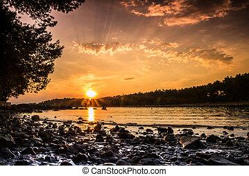 Beautiful beach during sunset in Rovinj, Croatia