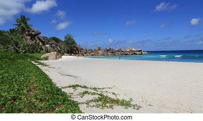 Beautiful beach Grande Anse. Island of La Digue in...