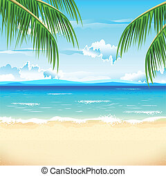 Beautiful Beach - illustration of sea beach with palm tree