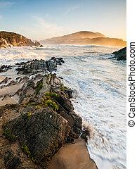 Beautiful beach in Meiras, Galicia, Spain