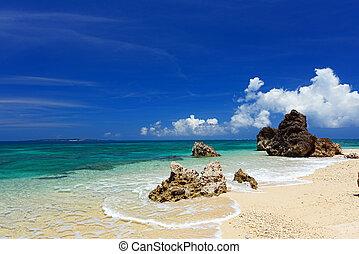 The sea of the beautiful coral of Okinawa.