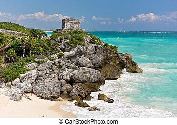 Tulum Mexico - Beautiful beach in Tulum Mexico, Mayan ruins...
