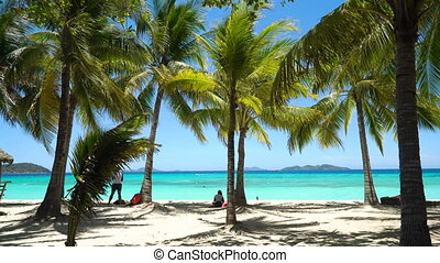 Beautiful beach on a tropical island Malcapuya. Philippines.