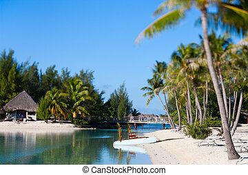Beautiful beach on Bora Bora island in French Polynesia