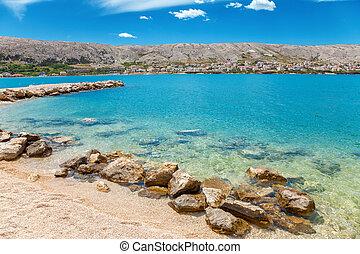 Beautiful beach on Croatian island Pag