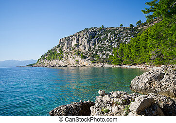 Beautiful beach on Croatian seashore, Makarska - Beautiful...