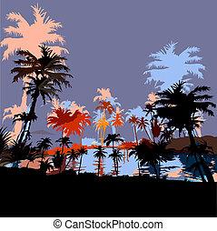 Beautiful beach resort in the tropics, vektor illustration.
