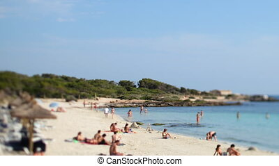 beautiful beach scene in colonia sant jordi in mallorca,...