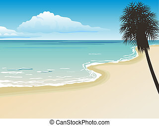 beautiful beach - vector illustartion of a bautiful ...