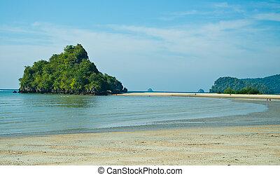 Andaman sea against blue sky at Krabi bay, Thailand.