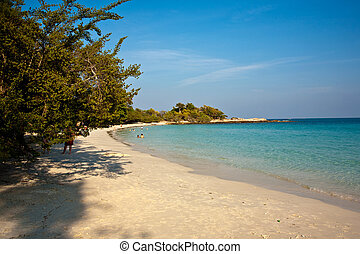 beautiful beach with fine white sand and trees and blue sea in romantic view and blue sky