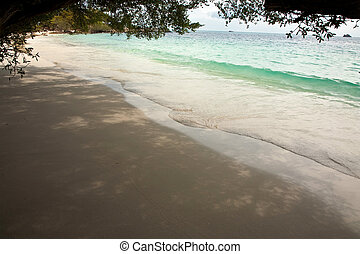 beautiful beach with fine white sand and trees and blue sea