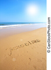 Beautiful beach with sand, blue waves and sky