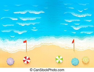Beautiful beach with waves, rip current illustration -...