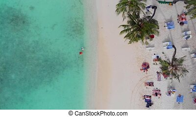 Beautiful beach with white sand palm trees and clear blue...