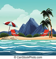 Beautiful beachscape scenery vector illustration graphic...