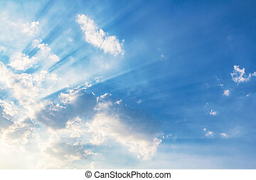 Beautiful beam of light and the clouds