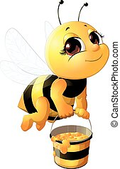 Beautiful bee with a bucket on a white background