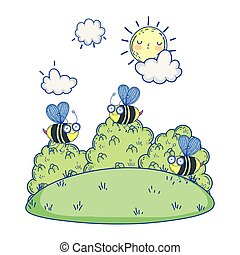 beautiful bees flying in the landscape